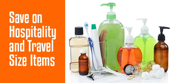 Save on Hospitality and Travel Size Items