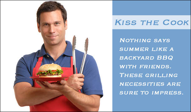 Kiss the Cook for Men-Look great on the grill with these clothes and barbeque accessories.