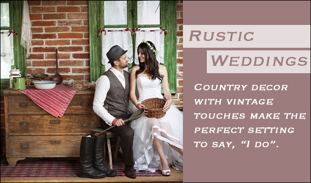 Rustic Weddings- country and vintage inspired wedding decor