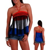 Red/White/Blue Juniors Halter Top
