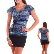 Blue/Purple Fitted Tribal Tunic Top