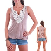 Embellished Fashion Tank Top - Mauve