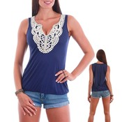 Embellished Fashion Tank Top - Navy