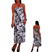 Womens Printed Maxi Dress - Black/White