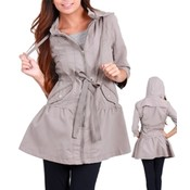Gray Hooded Anorak Tie Waist Jacket