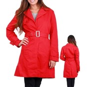 Juniors Red Belted Long Trench Coat