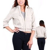 Silver Cropped Zipper Jacket