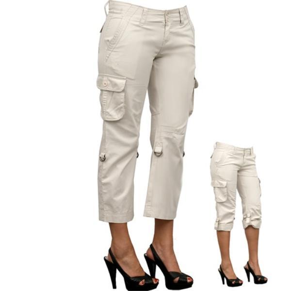 Wholesale Juniors Khaki Cargo Capri Pants (SKU 973200) DollarDays