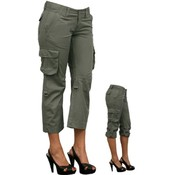 Juniors Cargo Capri Pants - Steel Green