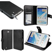 Black Leather Folio Wallet & Case for Samsung Galaxy Note II