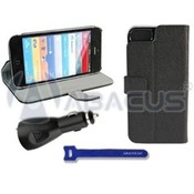 Black PU Leather Case/Stand for iPhone 5 & Car Charger