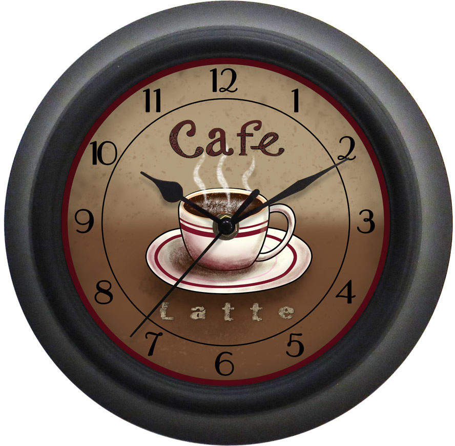 9 inch coffee theme wall clock december 2015 - Coffee themed wall clocks ...
