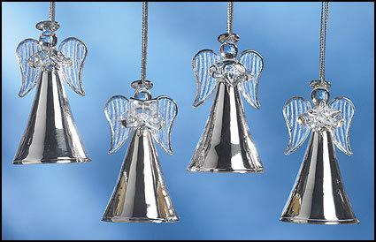 Silver Glass Angel CHRISTMAS Ornament Assortment (754401)