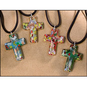 Glass Cross Pendants