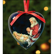 Adoring Santa Heart Shaped Ornament