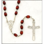 Cordovan Wood Oval Rosary