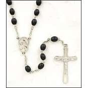 Black Wood Oval Rosary