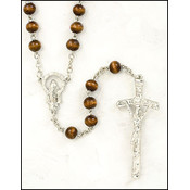 7 mm Brown Wood Round Rosary