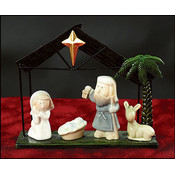 Nativity Set With Donkey in Black Metal Stable Wholesale Bulk