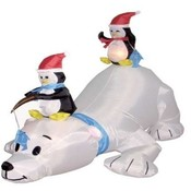 Six Foot Long Christmas Inflatable Polar Bear + 2
