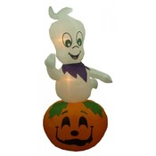 9' Animated Halloween Inflatable Ghost on Pumpkin