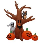 Eight Foot Halloween Inflatable Ghost Tree + Owl +
