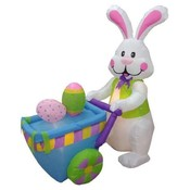 Four Foot Long Easter Inflatable Rabbit Pushing Ca