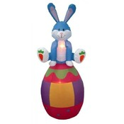 Six Foot Easter Inflatable Rabbit Sitting on an Eg