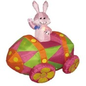Six Foot Long Easter Inflatable Rabbit in Egg Car