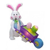 Six Foot Long Easter Inflatable Rabbit Pushing Whe