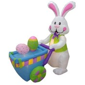 Six Foot Long Easter Inflatable Rabbit Pushing Car