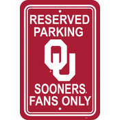 "Oklahoma Sooners-12"" X 18"" Plastic Parking Sign"