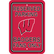 "Wisconsin Badgers-12"" X 18"" Plastic Parking Sign"