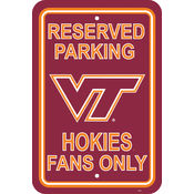 "Virginia Tech Hokies-12"" X 18"" Plastic Parking Sign"