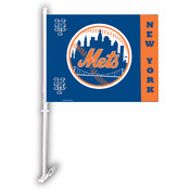 New York Mets Car Flag w/Wall Bracket