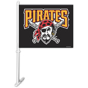 Pittsburgh Pirates Car Flag w/Wall Bracket