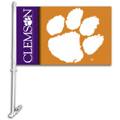 Clemson Tigers-Car Flag W/Wall Brackett
