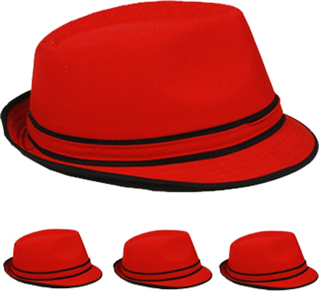 Red Fedora Hat with Black Piping Detail [1917121]