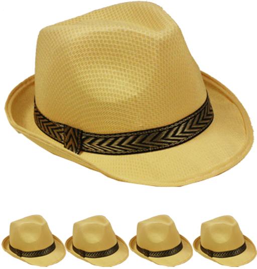 Tan Mesh Fedora Hat [1988991]
