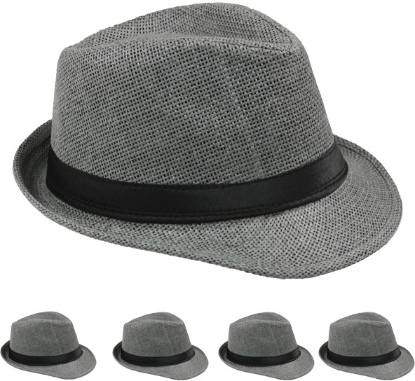 Gray Straw Fedora Hat [1988997]