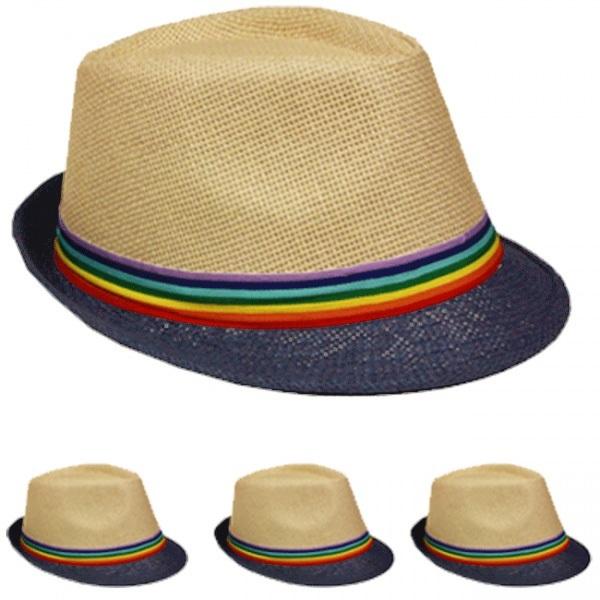 Straw Fedora Hat with Blue Brim & Rainbow Band [1877082]