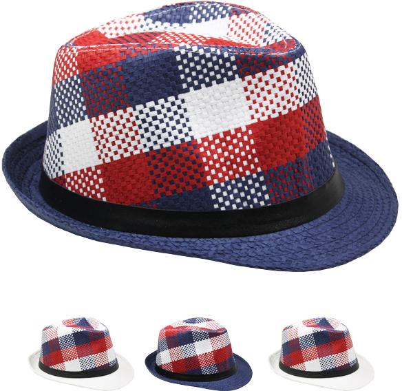 ''Red, White & Blue Plaid Fedora Hat [1989001]''