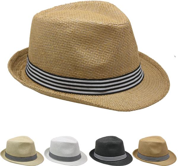 Straw Fedora Hat with Stripe Band [1989009]