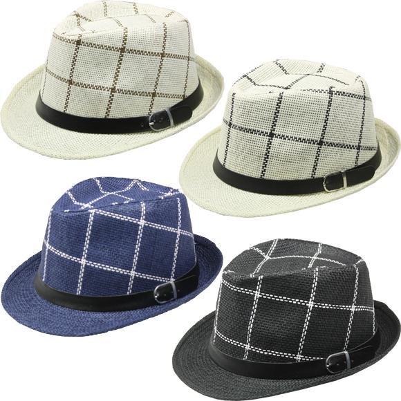 Menswear Checkered Straw Fedora Hats [1989011]