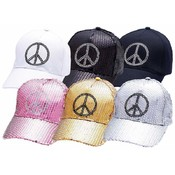 6pc Sequin or Cotton Twill Ball Caps w/Peace Signs
