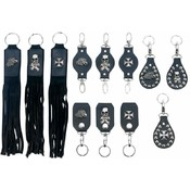 Diamond Plate 12pc Genuine Leather Keychain Set