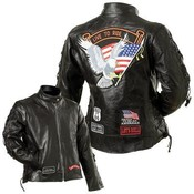 Ladies Genuine Buffalo Leather Motorcycle Jacket-M