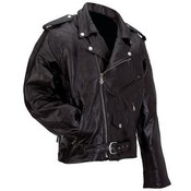 Mens Genuine Buffalo Leather Motorcycle Jacket-L