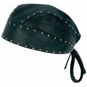 Leather Perforated Skull Cap wChrome Studs