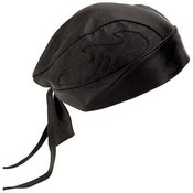Solid Genuine Leather Skull Cap with Flames